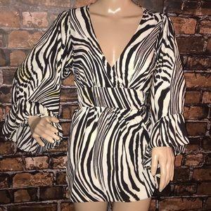 Betsey Johnson Blouse zebra print v neck back tie